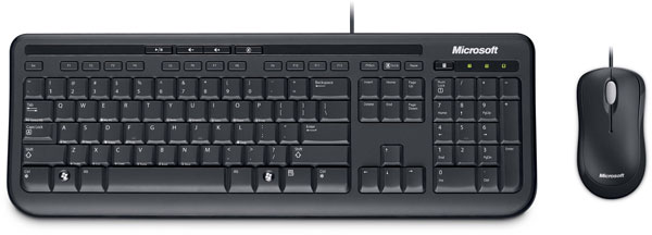 The package comprises Microsoft's Keyboard 600 (US version pictured) and Optical Mouse
