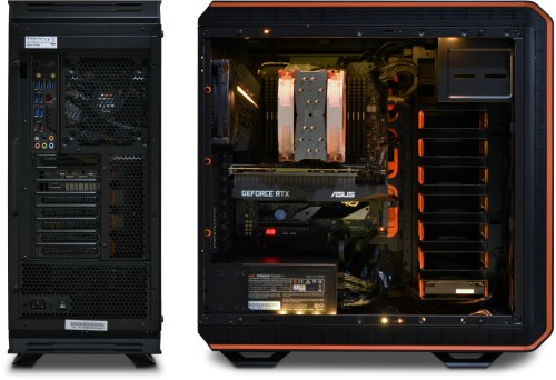 Rear and side view of the Serenity AMD Threadripper Workstation installed in the Dark Base chassis