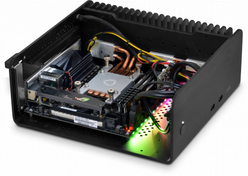 Photo showing internal component layout - internal optical tray has been removed to give a better view. Motherboard RGB lights can be turned off.